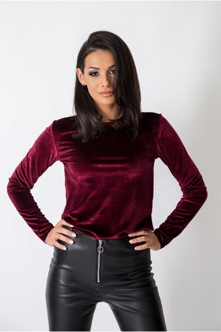 Кадифе блуза с дълъг ръкав в бордо