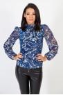 Блуза с шифонени ръкави на флорални мотиви