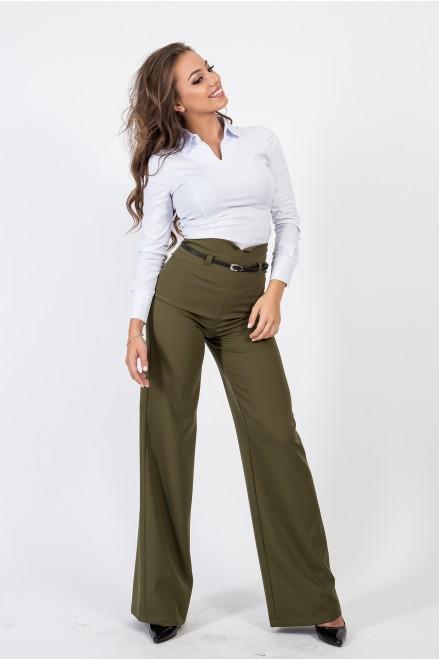 Тъмно зелен панталон с висока талия и коланче