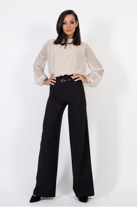 Черен панталон с висока талия и коланче