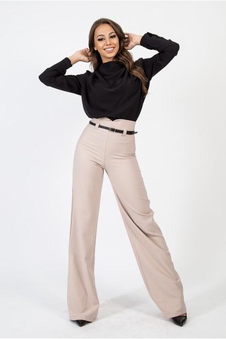 Панталон с висока талия и колан в цвят пудра