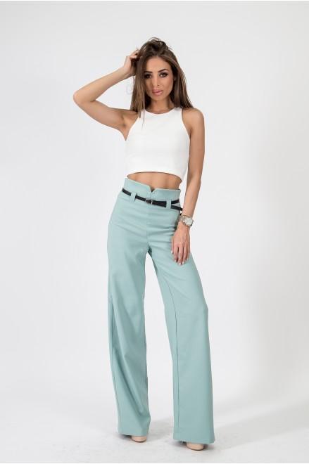 Резеда панталон с висока талия и коланче