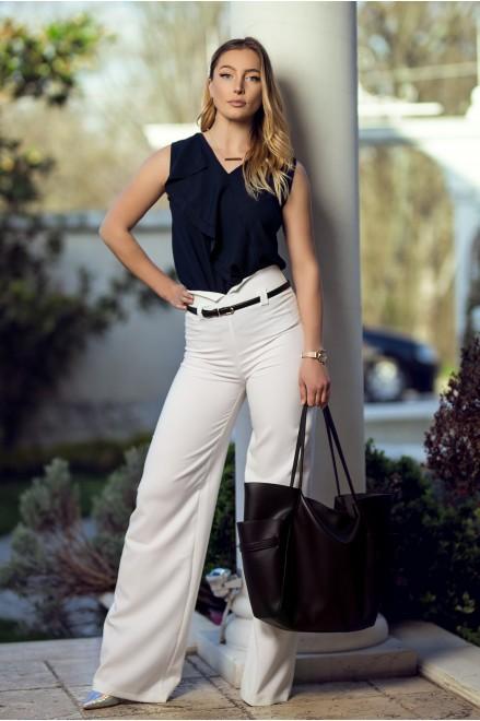 Бял панталон с висока талия и коланче