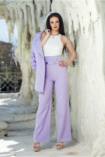 Панталон с висока талия в лила