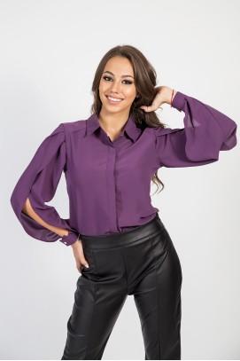 Риза с рязан ръкав в лилаво
