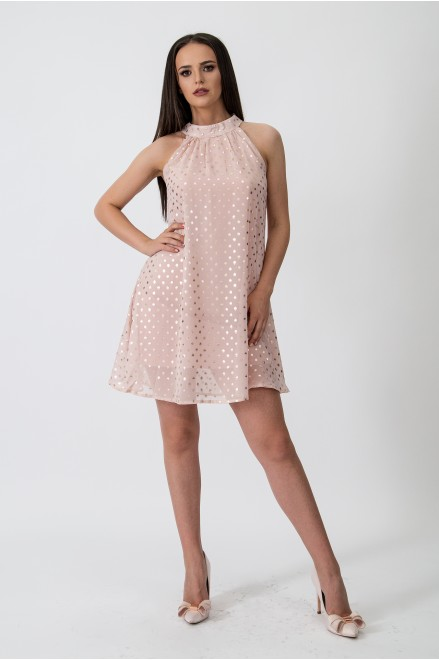 Коктейлна рокля на точки в нежно розово