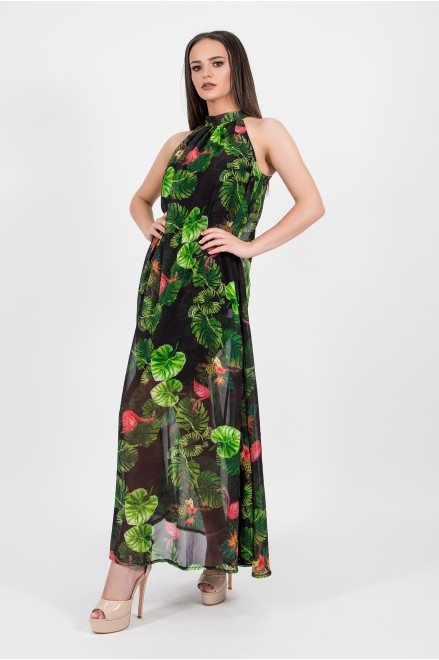 Дълга рокля с принт на фламинго