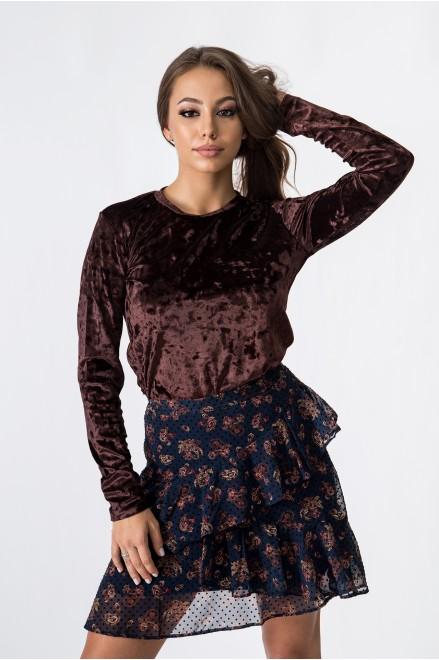 Кадифе блуза с дълъг ръкав