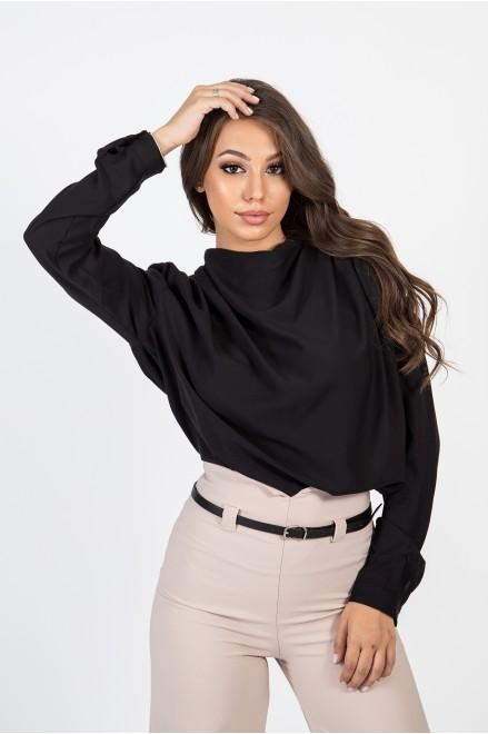 Шифонена риза с гръцко деколте в черен цвят