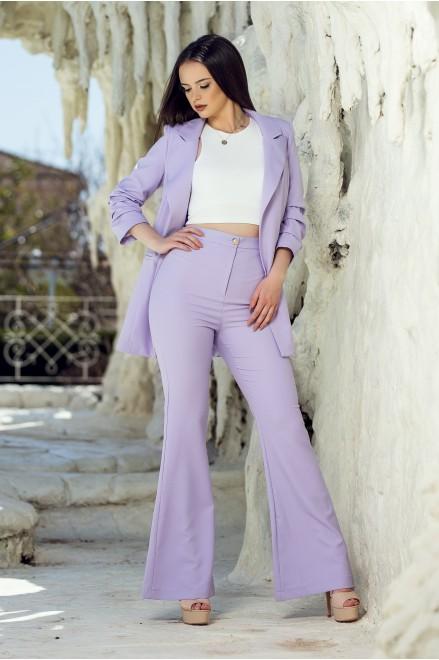 Чарлстон панталон с висока талия в лила
