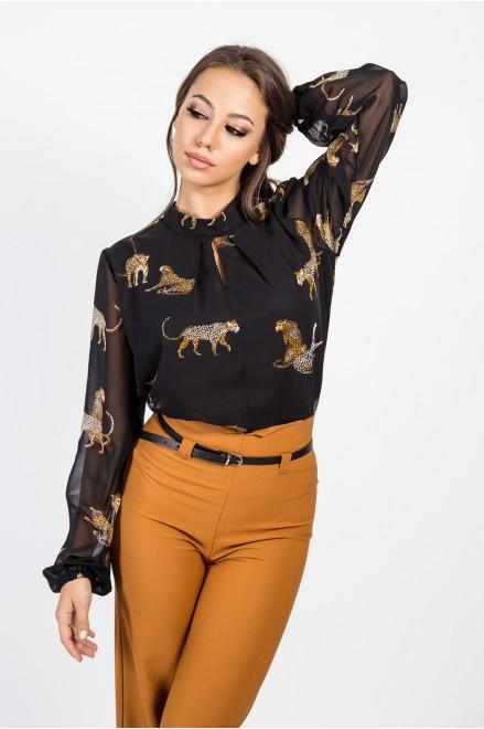 Шифонена риза на животински принт